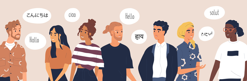 Illustration of people speaking in different languages